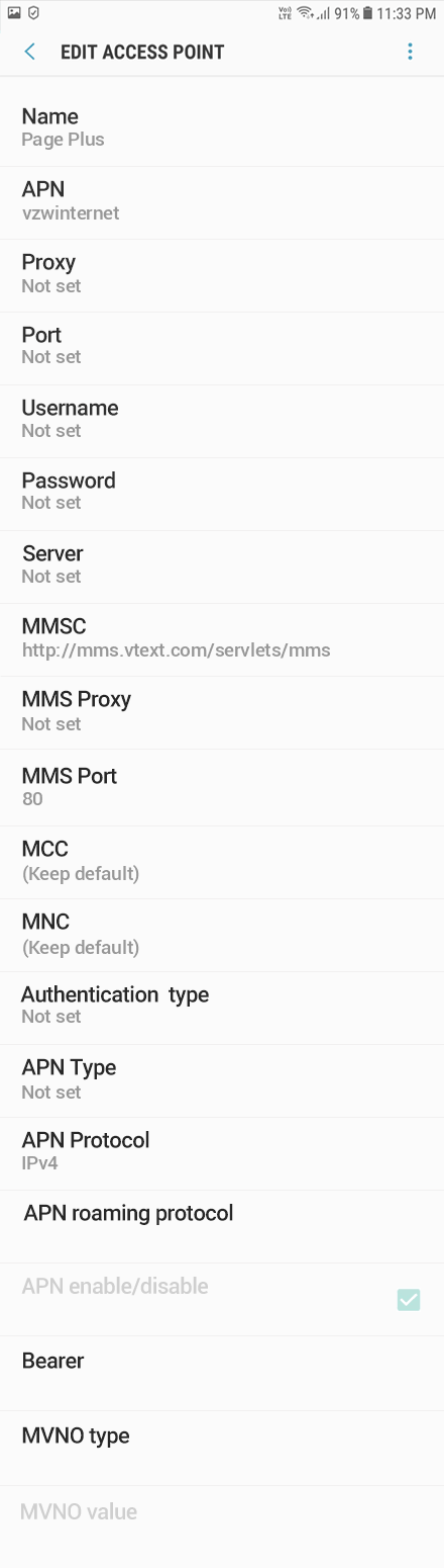 Page Plus 2 APN settings for Android 9 screenshot