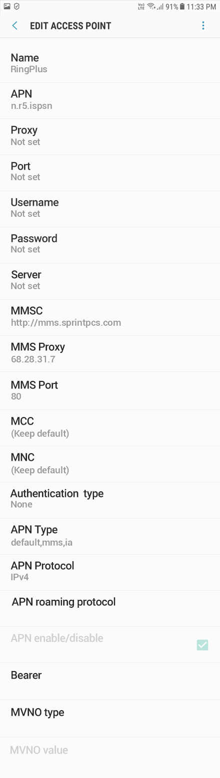 RingPlus 2 APN settings for Android 9 screenshot
