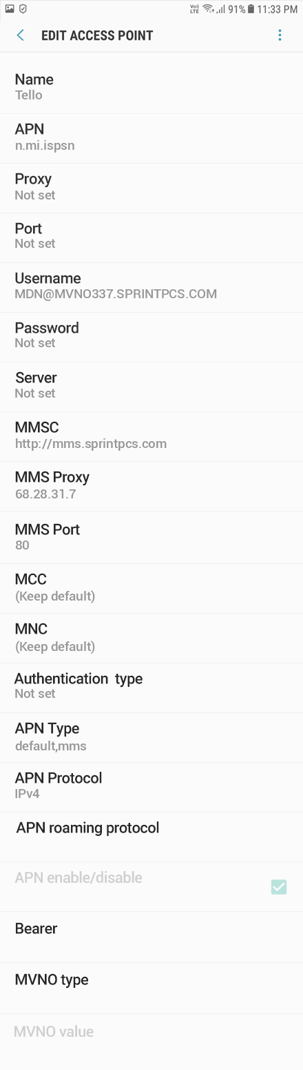 Tello 2 APN settings for Android 9 screenshot