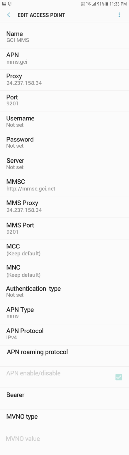 GCI 3 APN settings for Android 9 screenshot