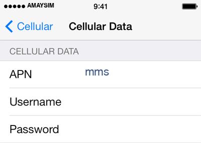 amaysim 3 APN settings for iOS screenshot