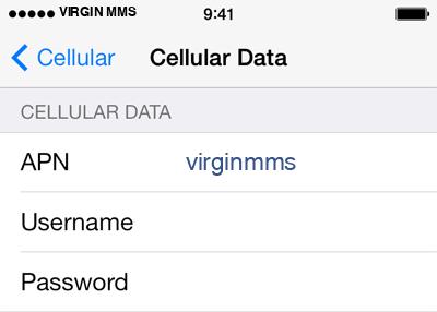 Virgin 3 APN settings for iOS screenshot