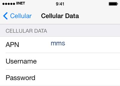iiNet 3 APN settings for iOS screenshot