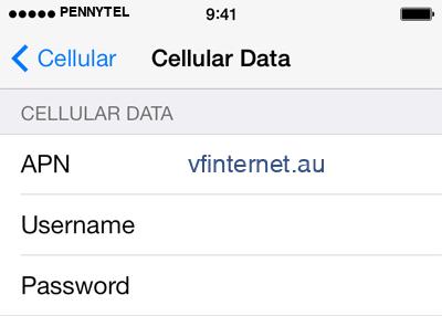 PennyTel 1 APN settings for iOS screenshot