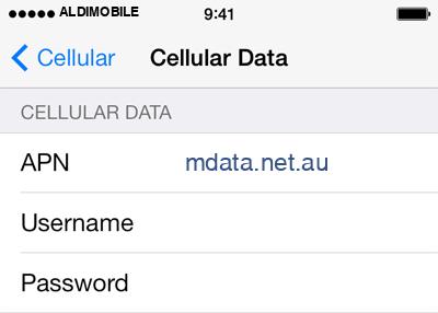 ALDImobile 2 APN settings for iOS screenshot