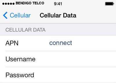 Bendigo Telco 1 APN settings for iOS screenshot