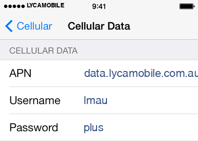 Lycamobile 1 APN settings for iOS screenshot