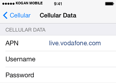 Kogan Mobile 2 APN settings for iOS screenshot