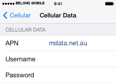 Belong Mobile 2 APN settings for iOS screenshot