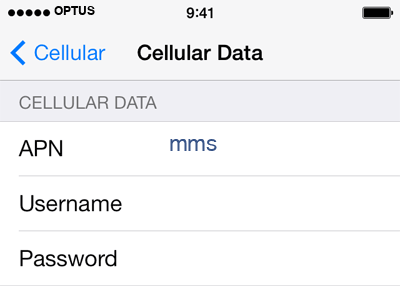 Optus 3 APN settings for iOS screenshot