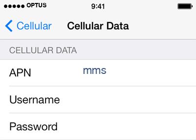 Optus 3 APN settings for iOS screenshot
