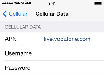 Vodafone 2 APN settings for iOS screenshot