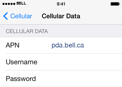 Bell 2 APN settings for iOS screenshot