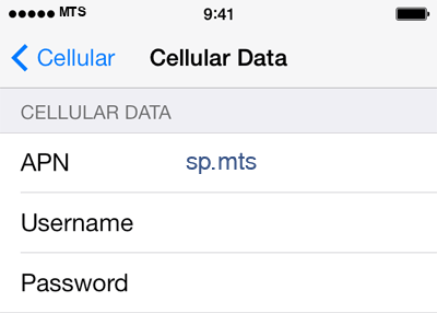 MTS 2 APN settings for iOS screenshot