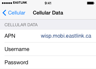 Eastlink 1 APN settings for iOS screenshot