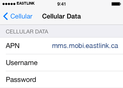 Eastlink 3 APN settings for iOS screenshot