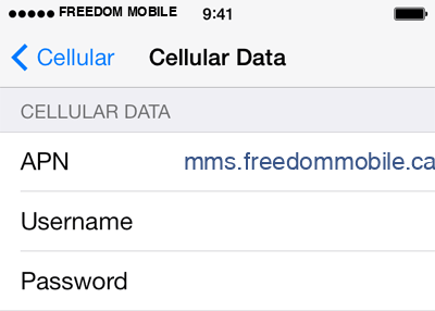 Freedom Mobile 3 APN settings for iOS screenshot