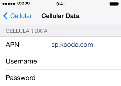 Koodo 2 APN settings for iOS screenshot