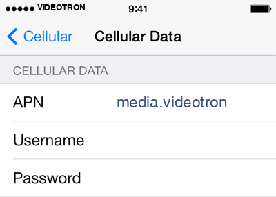 VideoTron 2 APN settings for iOS screenshot