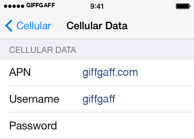 Giffgaff 1 APN settings for iOS screenshot