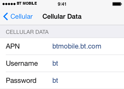 BT Mobile 1 APN settings for iOS screenshot