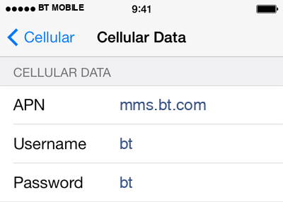 BT Mobile 3 APN settings for iOS screenshot