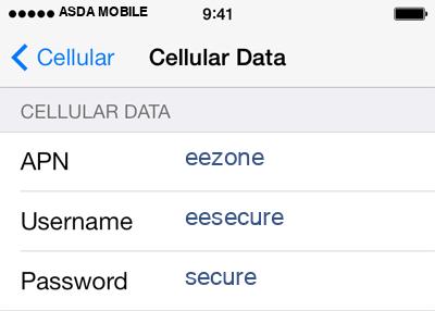 Asda Mobile 3 APN settings for iOS screenshot