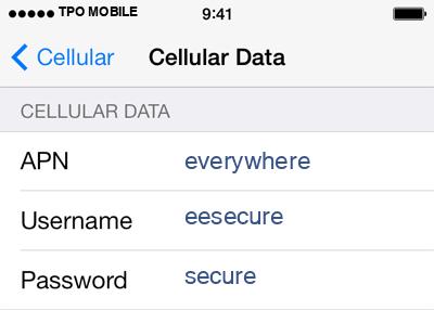 TPO Mobile 2 APN settings for iOS screenshot
