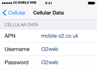 O2 1 APN settings for iOS screenshot