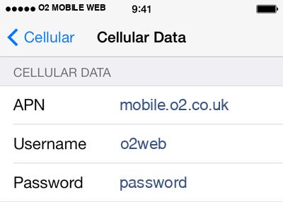 O2 1 APN settings for iOS screenshot