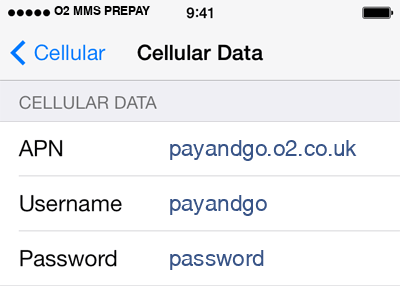O2 3 APN settings for iOS screenshot
