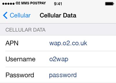 O2 3 APN settings for iOS screenshot