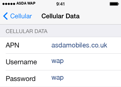 Asda Mobile 2 APN settings for iOS screenshot