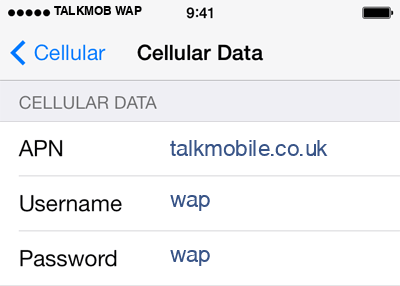 TalkMobile 2 APN settings for iOS screenshot