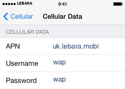 Lebara 2 APN settings for iOS screenshot