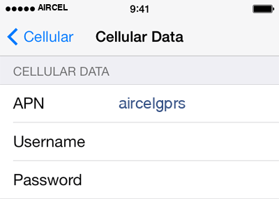 Aircel 1 APN settings for iOS screenshot