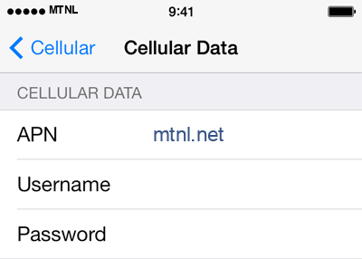 MTNL 1 APN settings for iOS screenshot