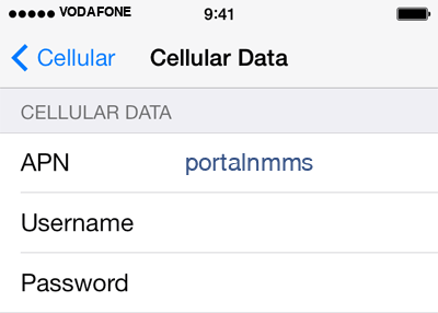 Vodafone 2 APN settings for iOS screenshot