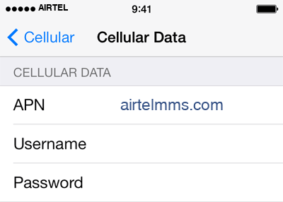 Airtel 3 APN settings for iOS screenshot