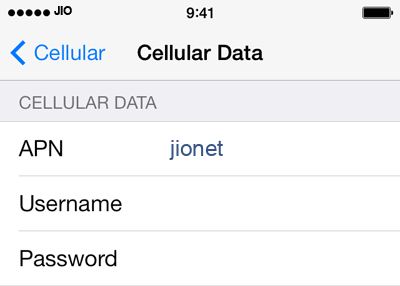 Jio 1 APN settings for iOS screenshot
