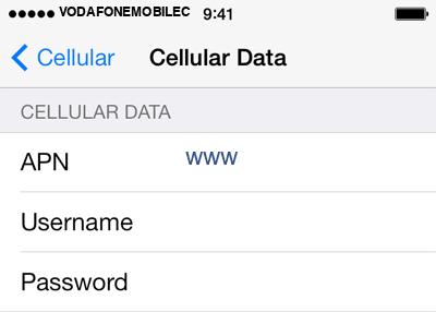 Vodafone 1 APN settings for iOS screenshot
