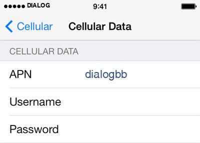 Dialog 2 APN settings for iOS screenshot
