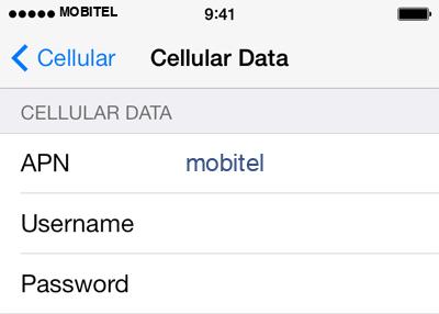 Mobitel 2 APN settings for iOS screenshot