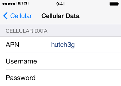 Hutch 1 APN settings for iOS screenshot