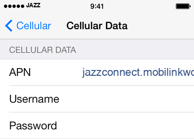 Jazz 1 APN settings for iOS screenshot