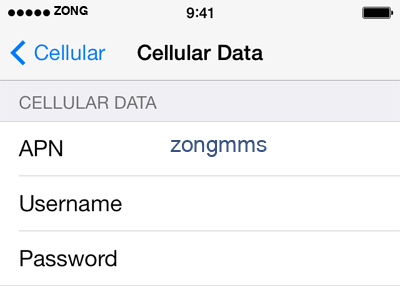 Zong 3 APN settings for iOS screenshot