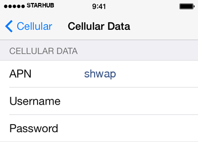 Starhub 1 APN settings for iOS screenshot