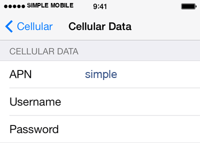 Simple Mobile 2 APN settings for iOS screenshot