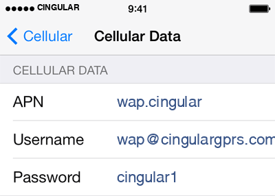 Cingular  2 APN settings for iOS screenshot