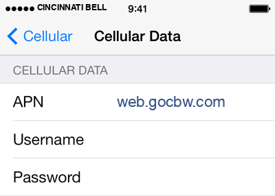Cincinnati Bell  1 APN settings for iOS screenshot